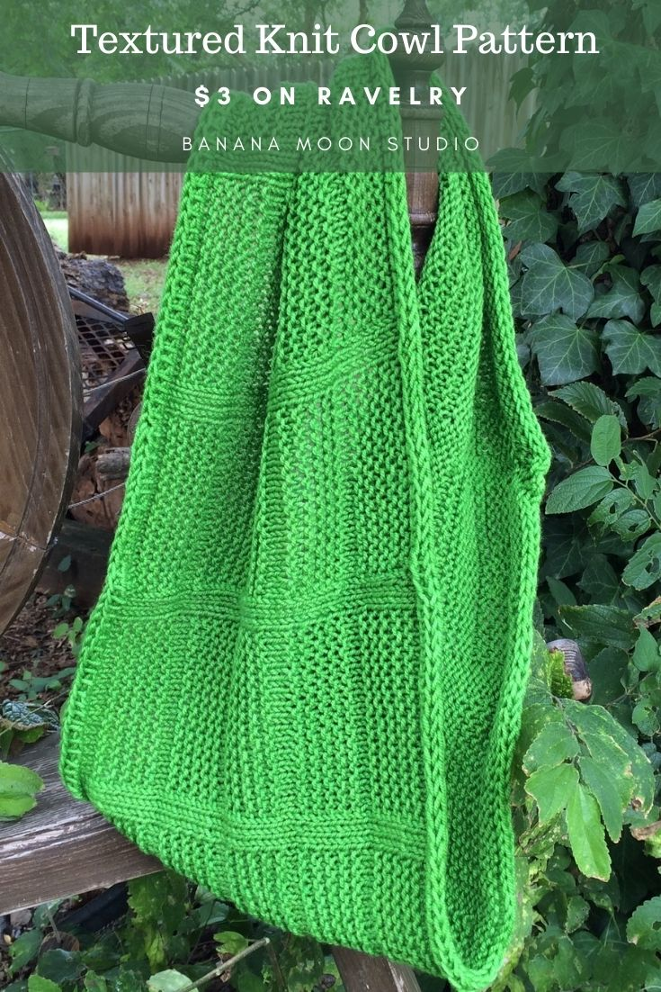 Cowl knitting pattern free with email subscription from Banana Moon Studio!