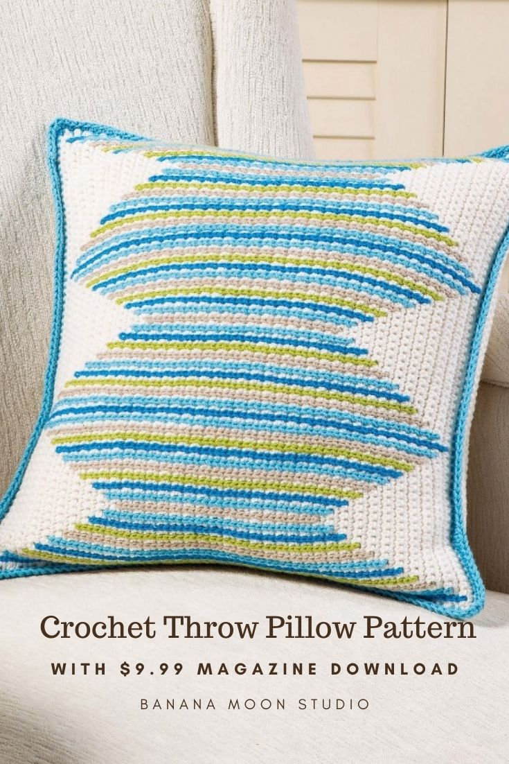 Crochet throw pillow cover pattern featuring surface crochet stitch from Banana Moon Studio