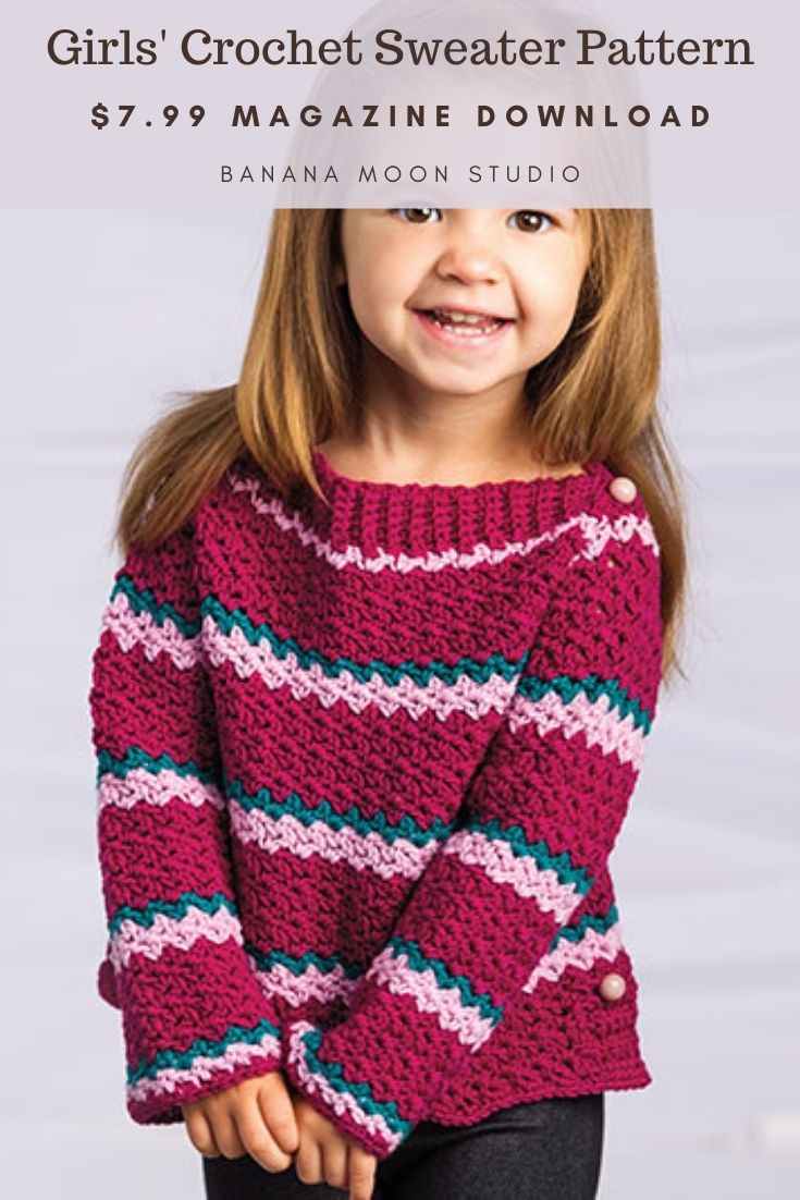 Girls crochet striped sweater in sizes 2-6 from Banana Moon Studio.