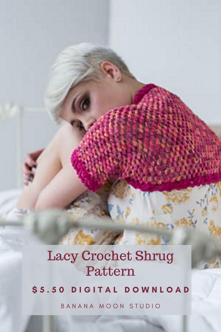 Shrug crochet design in sock yarn from Banana Moon Studio and Interweave Crochet.