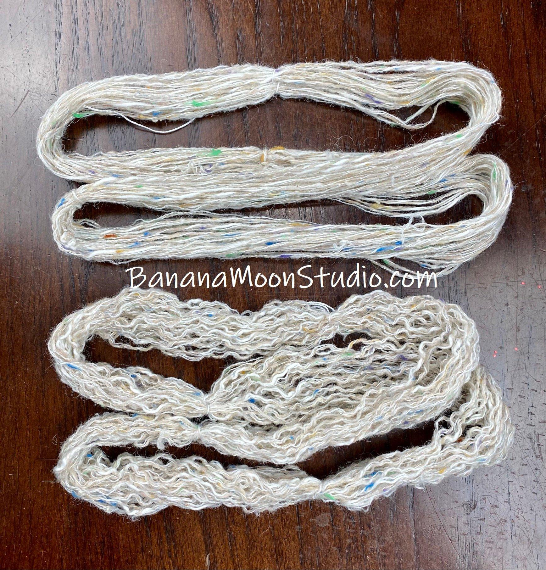 Steamed acrylic and nylon yarn, versus wet blocked. No comparison! How to block acrylic yarn. Banana Moon Studio.
