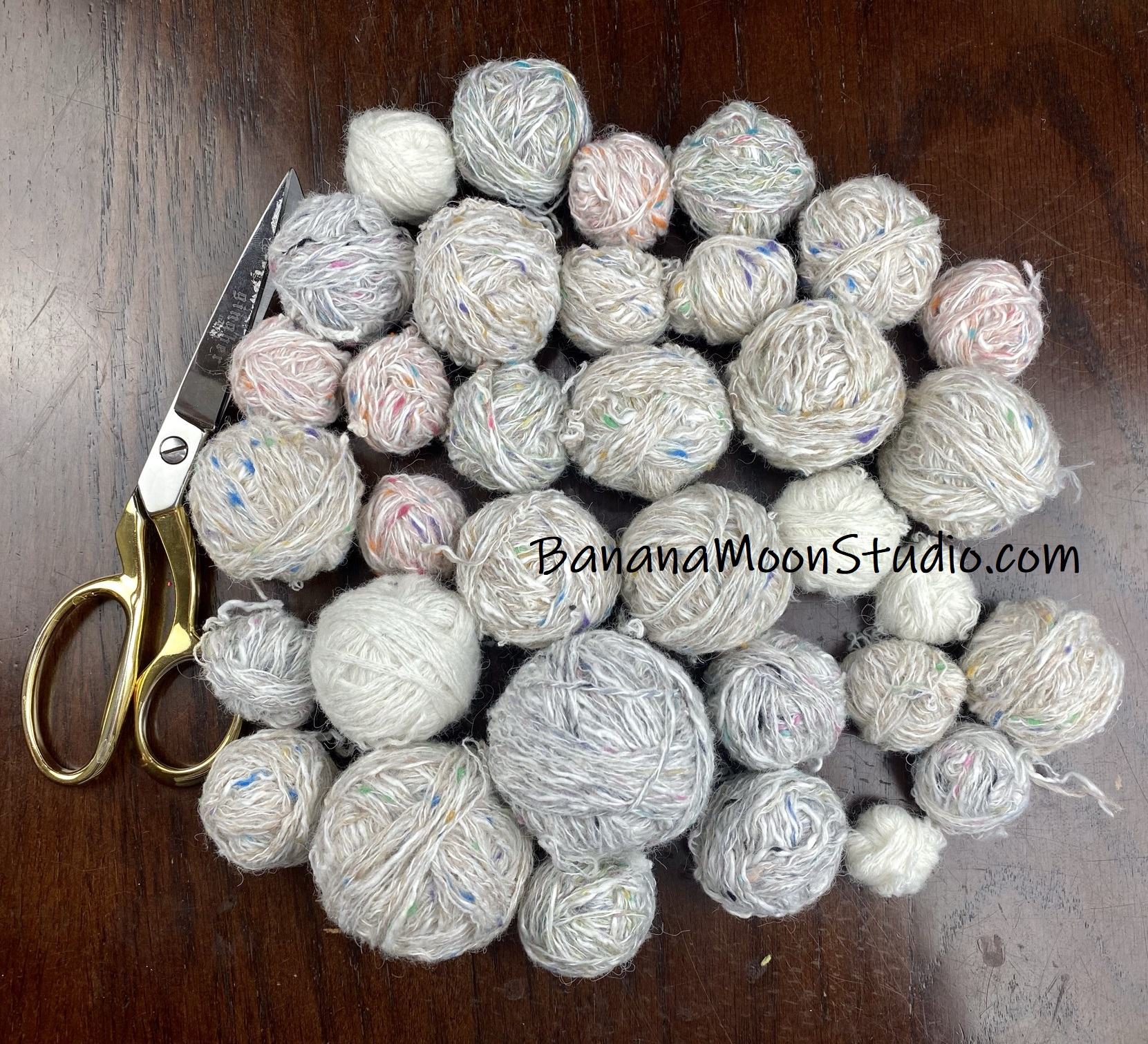 All finished unraveling yarn from thrift store sweaters. Photo tutorial from Banana Moon Studio.