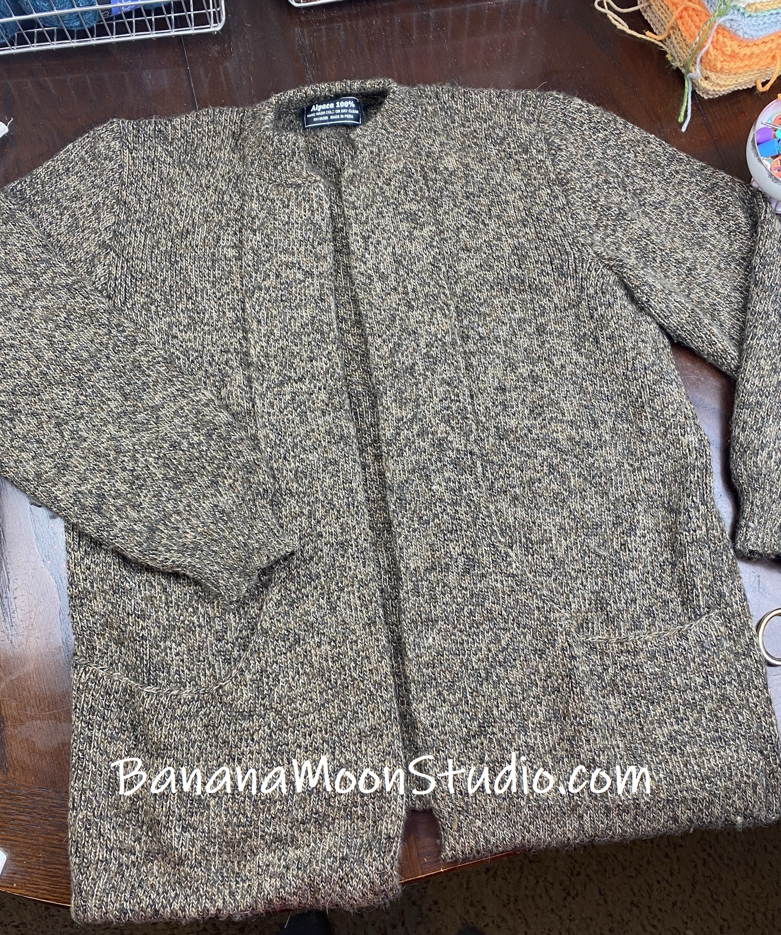 100% alpaca sweater from a thrift store. Should I unravel it? Photo tutorial from Banana Moon Studio.