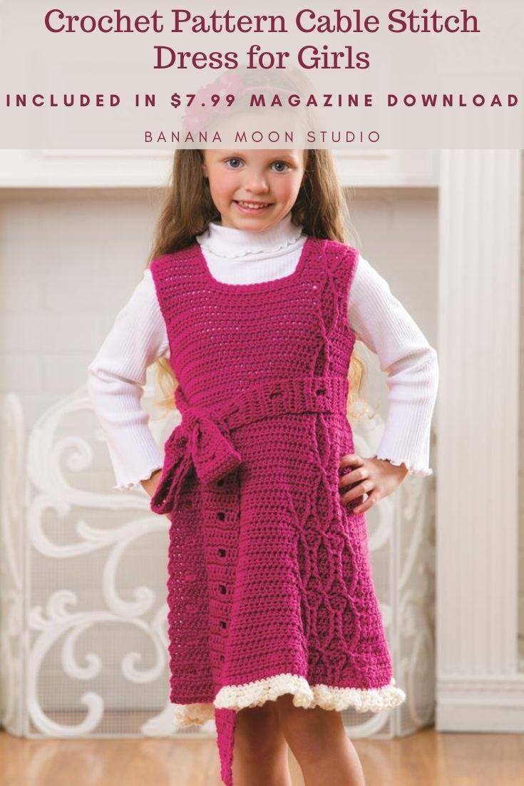 Crochet dress for girls children, pattern from Banana Moon Studio and Annie's.