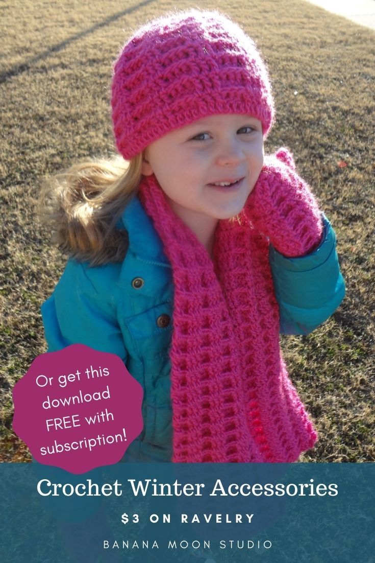 Crochet winter hat, scarf, and mittens patterns, free from Banana Moon Studio!