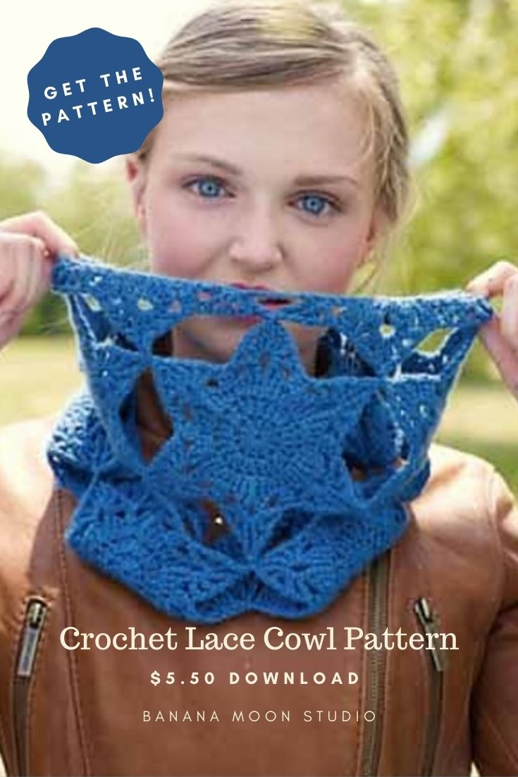 Woman wearing a blue crochet cowl made of star motifs and wearing a brown leather jacket. Crochet Lace Cowl Pattern. $5.50 download. Banana Moon Studio.