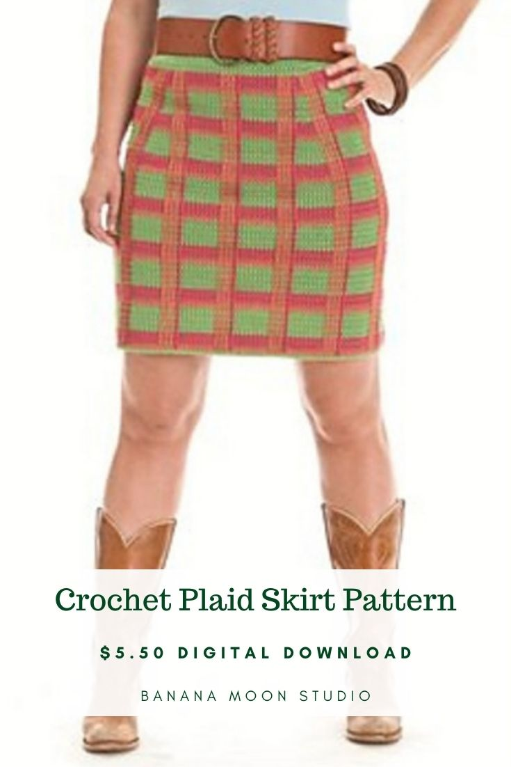 Woman wearing a plaid crochet skirt and brown boots. The skirt is green with stripes of pink and orange. Crochet Plaid Skirt Pattern. $5.50 Digital Download. Banana Moon Studio.