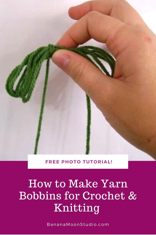 Hand holding small bundle of green yarn. Free photo tutorial! How to make yarn bobbins for crochet & knitting. BananaMoonStudio.com.