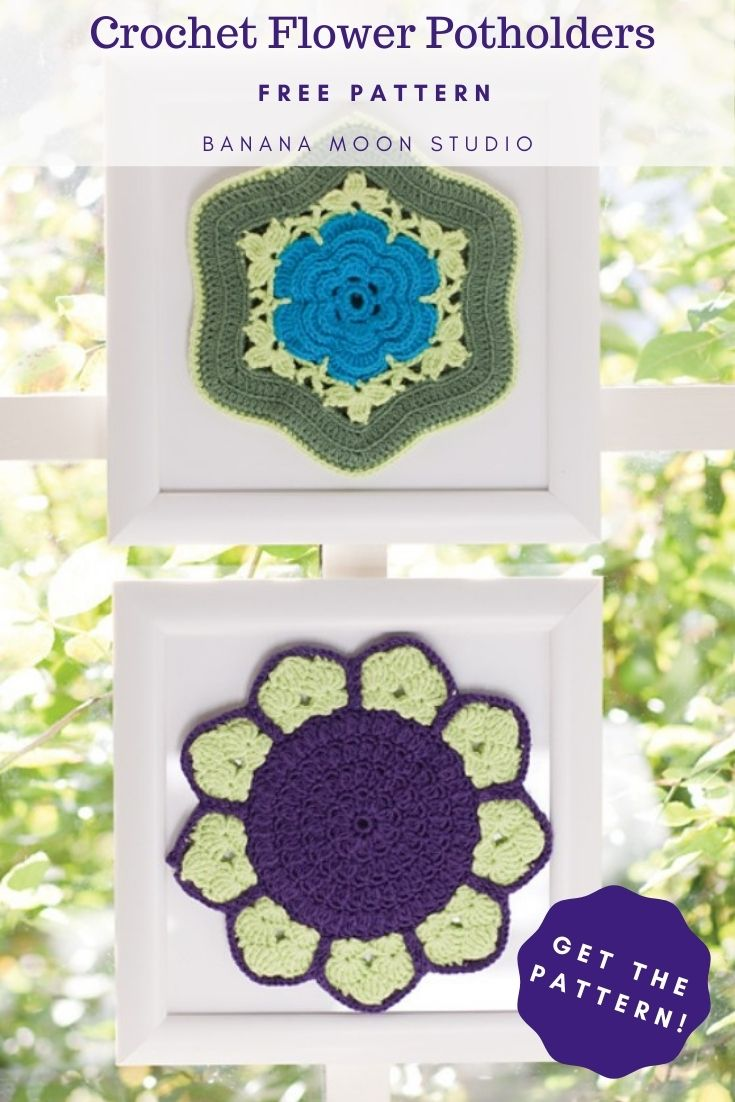 Crochet flower potholders. Free pattern. Banana Moon Studio. Two flower crochet potholders in frames. One has a bright blue flower in the center edged with two shades of green. The others has a dark purple center with pale yellow green petals like a sunflower.