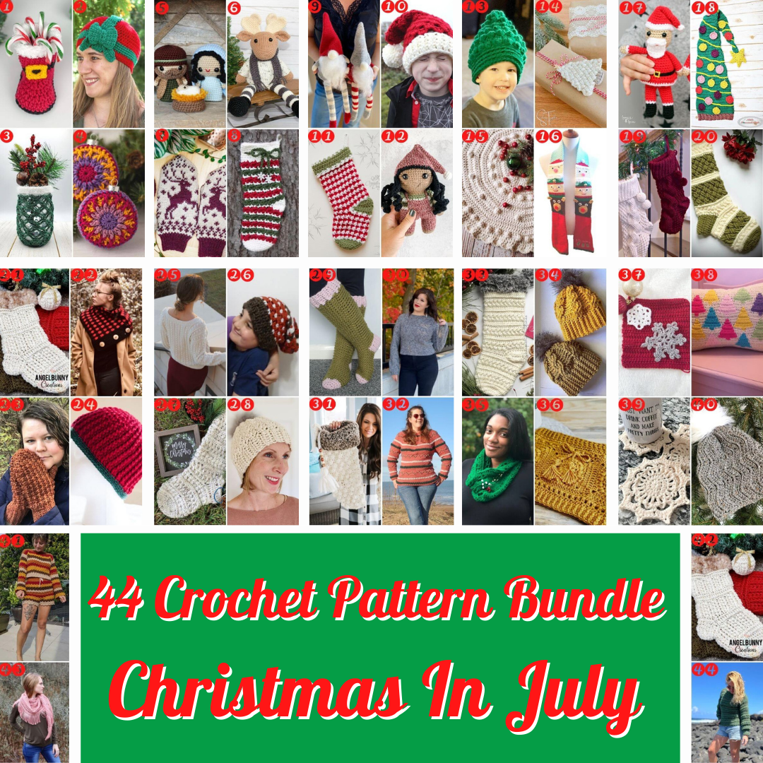 Photo collage of Christmas themed crochet patterns including hats, mittens, coasters, stockings, amigurumi, ornaments, decor, sweaters, tree skirts, cowls, and more!