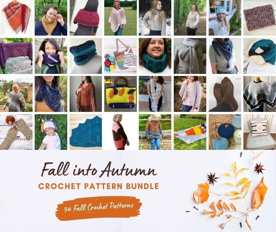 Photo collage of fall crochet pattern bundle. Text reads: Fall into Autumn Crochet Pattern Bundle. 34 fall crochet patterns.
