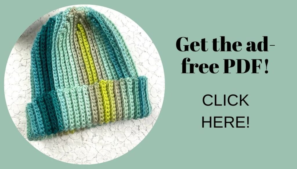 Button with a picture of a striped crochet hat. Text reads: Get the ad-free PDF. Click here!