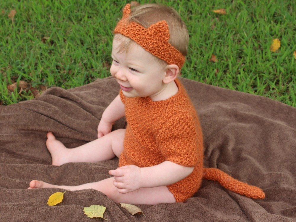 Baby wearing an orange headband with ears and a matching onesie with a tail. The baby is sitting on a brown blanket with green grass and fallen leaves in the background.