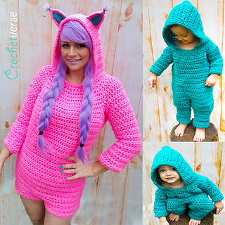 Woman in a hot pink, long-sleeved onesie with shorts, and cat ears on the hood. Also, a baby or toddler wearing a teal hooded onesie with long pants and long sleeves. Text reads: Crochetverse.
