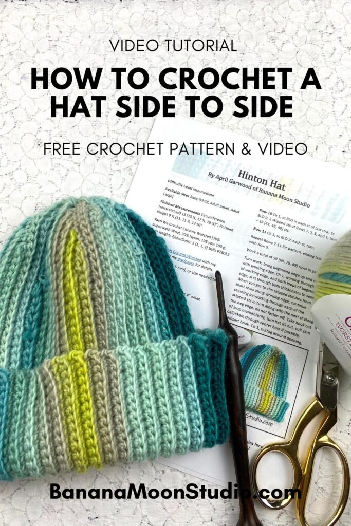 Learn to crochet a ribbed hat side to side, using short rows to shape the crown! Free crochet pattern and video from Banana Moon Studio.
