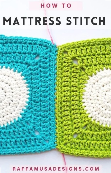 Two crochet squares, one turquoise with a white center, and the other lime green with a white center, joined together along one edge. Text reads: How to Mattress Stitch. Raffamusadesigns.com.
