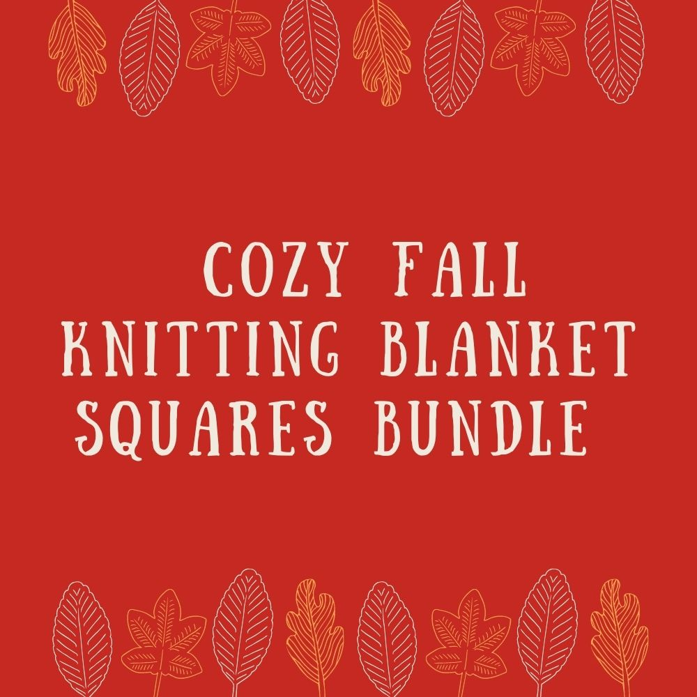 Button that reads: Cozy fall knitting blanket squares bundle.