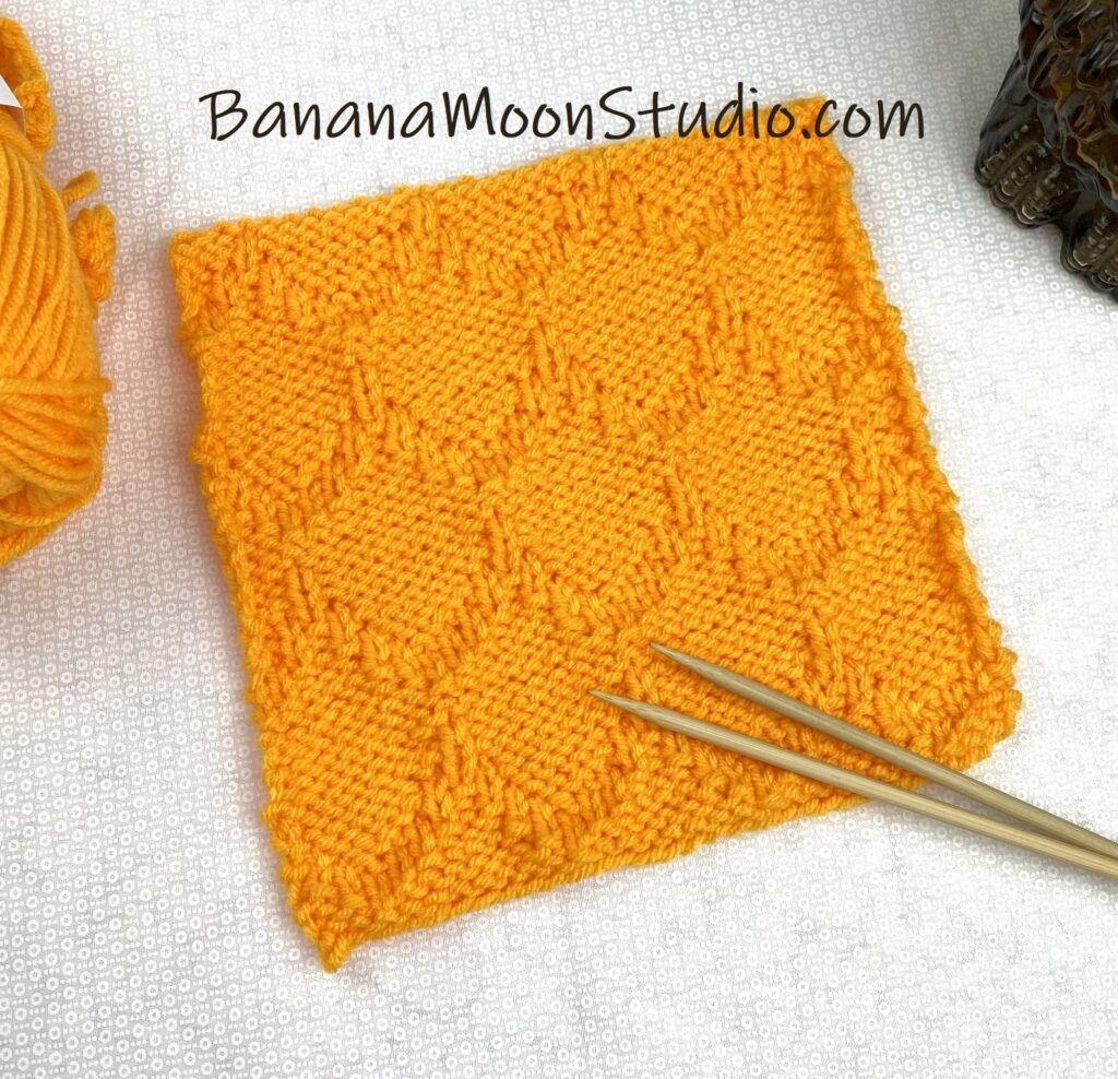 texture knit blanket square free knitting pattern