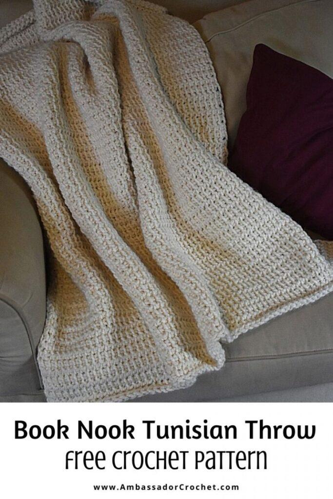 Book Nook Tunisian Throw from Ambassador Crochet.