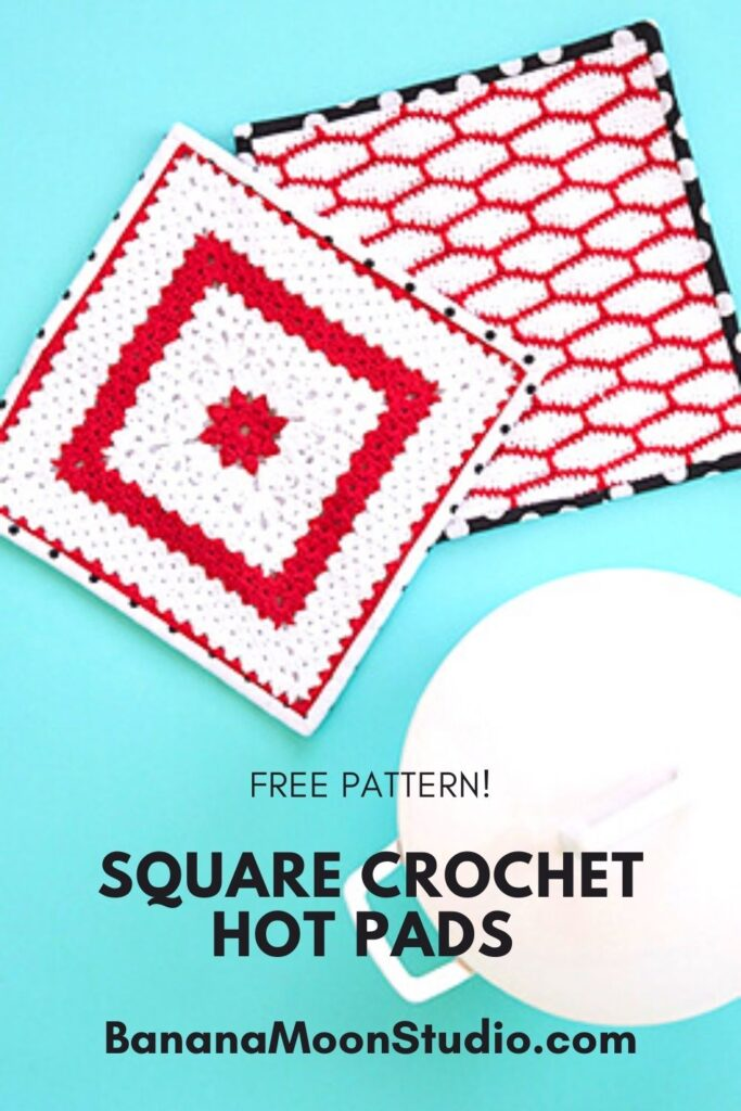 Free crochet potholder patterns from Banana Moon Studio! Make them thick with a felt layer in the middle and a fabric backing!