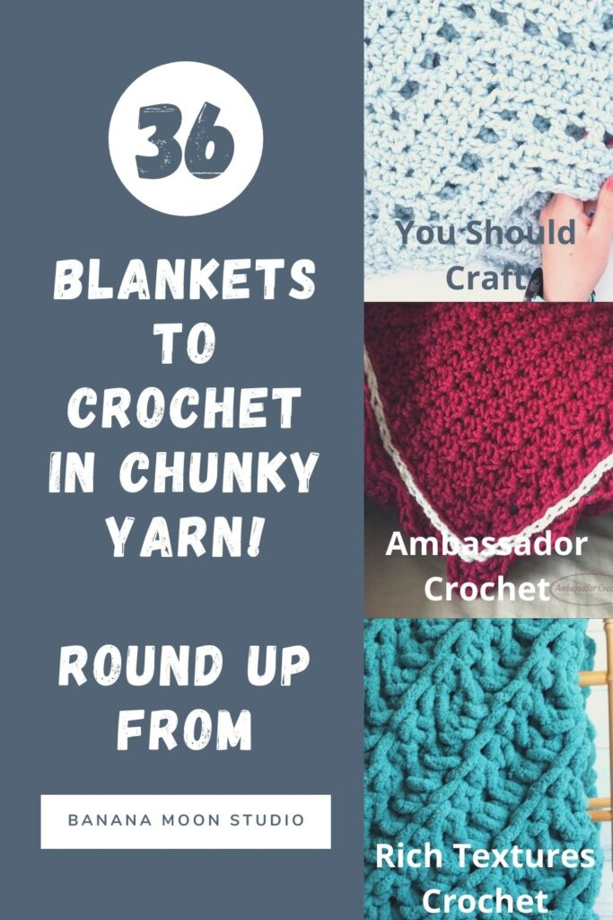 Find the perfect blanket to crochet with bulky, super bulky, and jumbo yarn! Crochet blanket pattern round up from Banana Moon Studio.