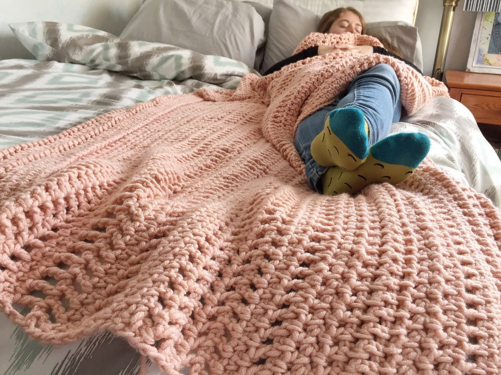 Mountain Mama Textured Blanket from This Pixie Creates, a bulky crochet blanket pattern.
