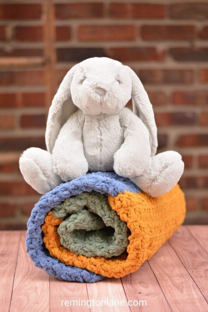 Color block crochet baby blanket from Remington Lane.