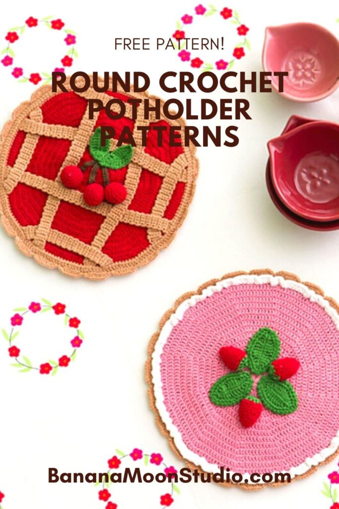 Round potholder crochet pattern that looks like pies! Free pattern from Banana Moon Studio. Cherry pie and strawberry cream pie potholders to crochet.