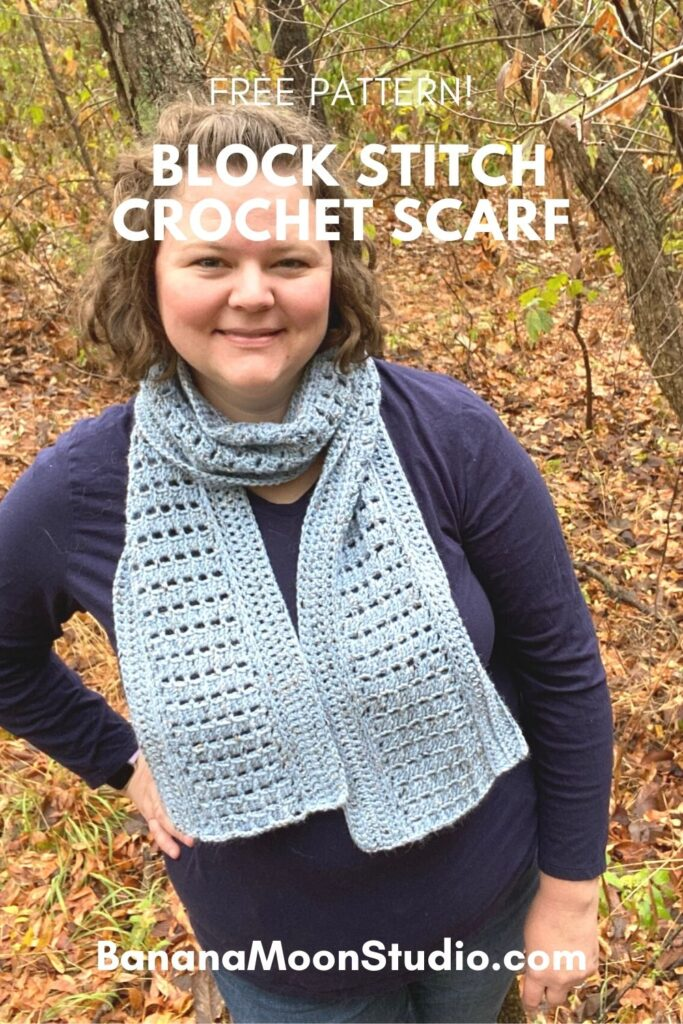 Free scarf pattern featuring block stitch from Banana Moon Studio.